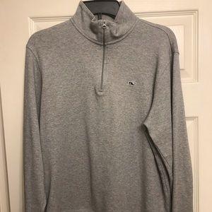 Vineyard Vines Gray Quarter Zip Sweater
